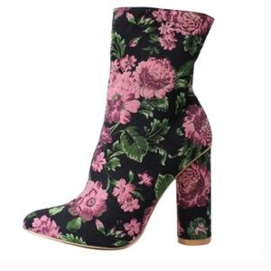 Cape Robbin Floral Ankle Boot Pointy Toe New